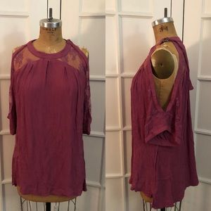 Free People boho mauve pink broomstick pleat top S